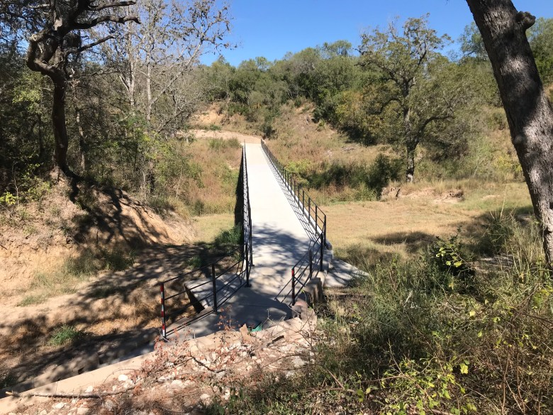 A recently built bridge over the Medina River connects the Pleasanton Road trailhead to older sections of the trail.