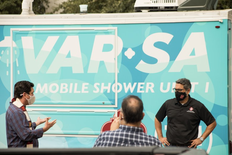 CoSA Department of Human Services and Councilman Roberto Treviño (D1) unveil a mobile shower trailer called LavarSA to ensure those experiencing homelessness can access a shower. Photos taken on November 24, 2020.