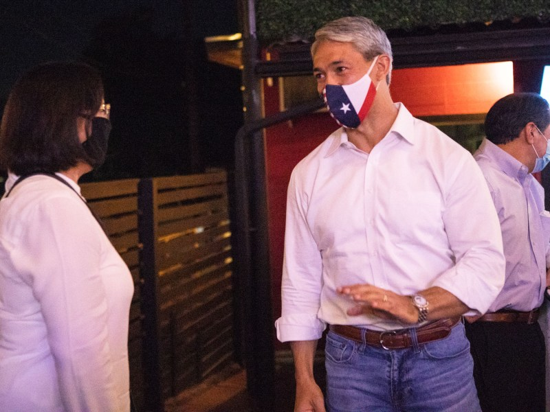 Mayor Ron Nirenberg, pictured here at an election watch party last week, is now quarantining after he came into contact with someone who tested positive on Saturday, Nov. 7.