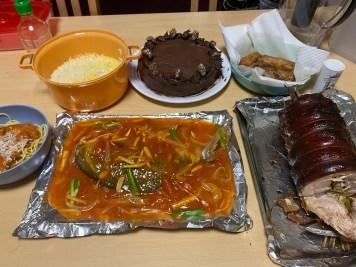 The feast that Marian Mae Cedeño prepared for her virtual Christmas celebration.