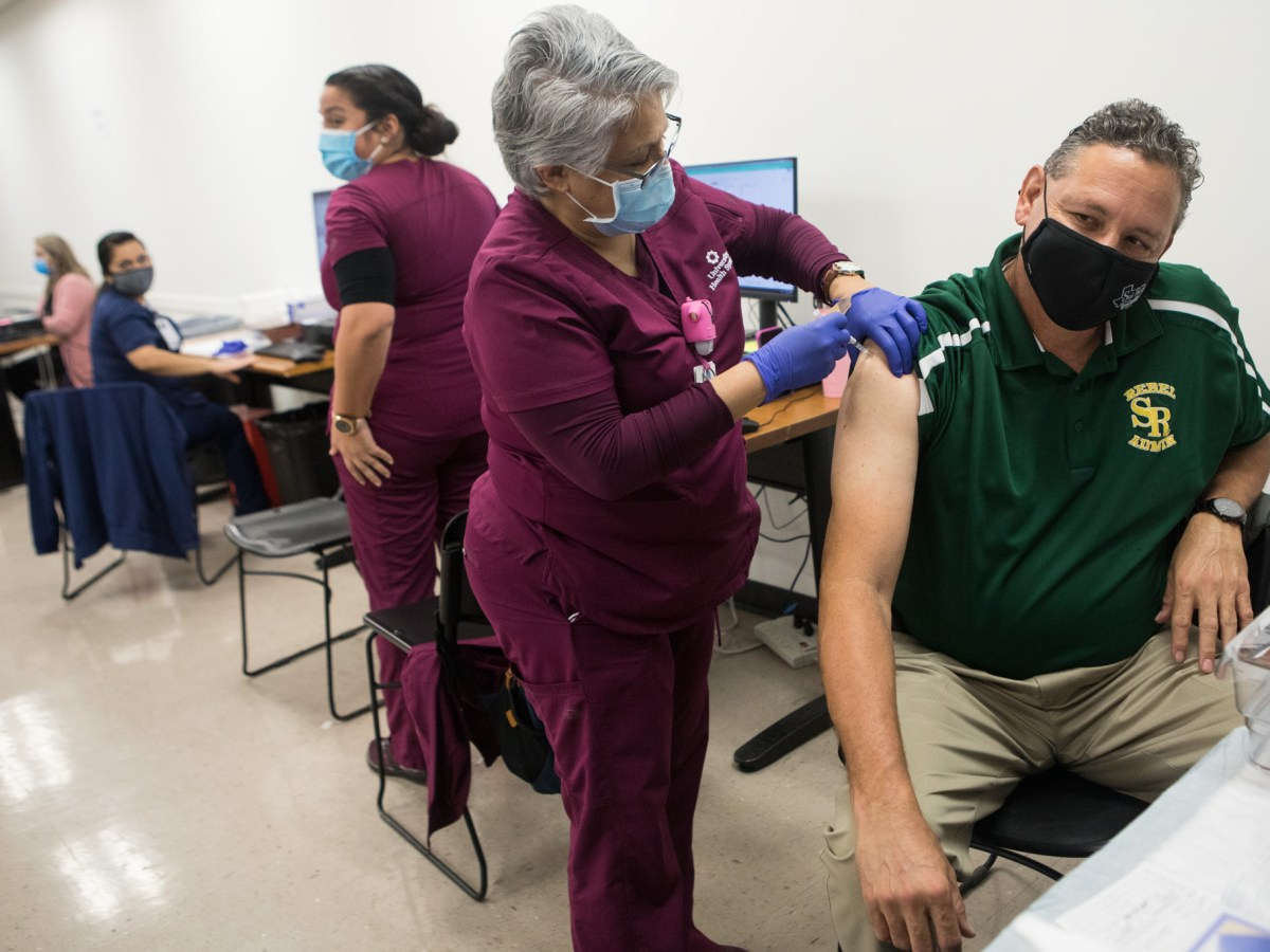 University Health vaccinates Phase 1A and 1B school district employees from nine local school districts each evening this week at Wonderland of the Americas on January 20, 2021.