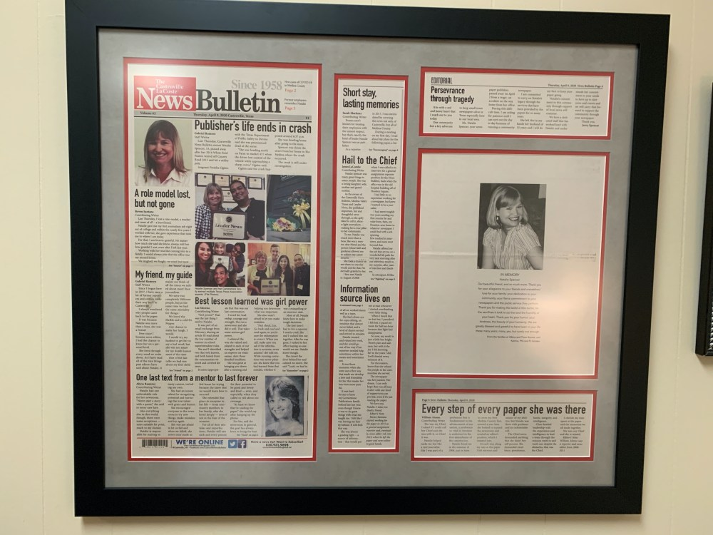 Jerad Spencer framed the article in the Castroville News Bulletin that announced his mother Natalie Spencer's death.
