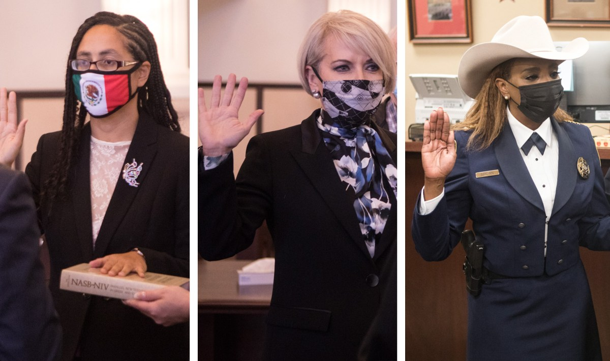 (From left) Commissioner Rebeca Clay-Flores (Pct. 1), Commissioner Trish DeBerry (Pct. 3), and Constable Kathryn Brown (Pct. 4) take their separate oaths of office on January 1, 2021..
