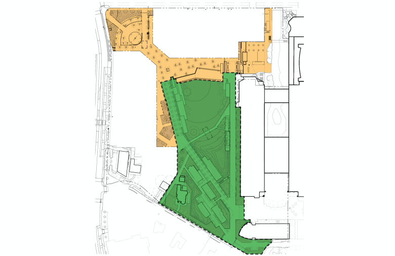 Hemisfair's Civic Park phases. Phase 1 is in green, Phase 2 is in yellow.