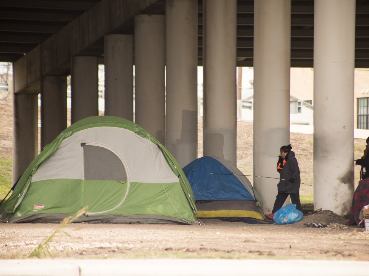 Many tents are set up as shelter under the I-37 underpass near Brooklyn Avenue. Photos taken on February 13, 2021.