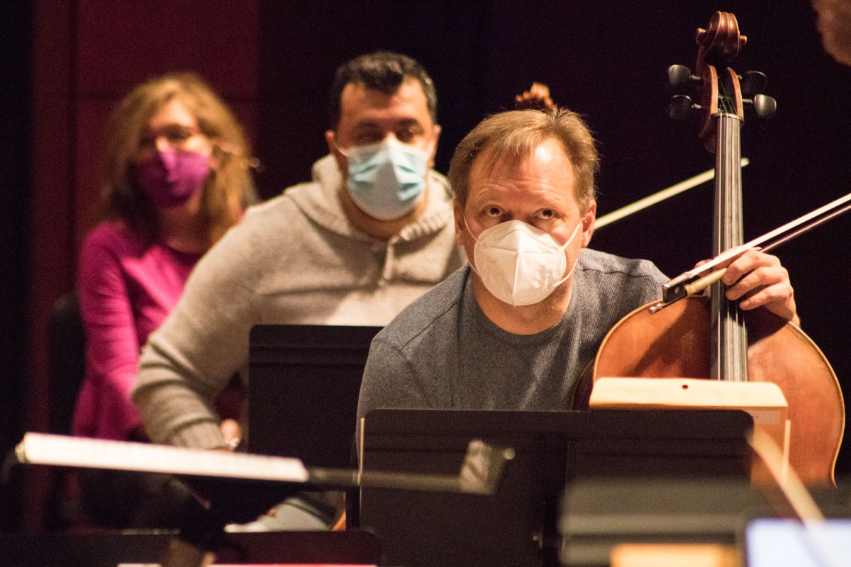 San Antonio Symphony rehearses on for its season-opening concert on February 3, 2021.