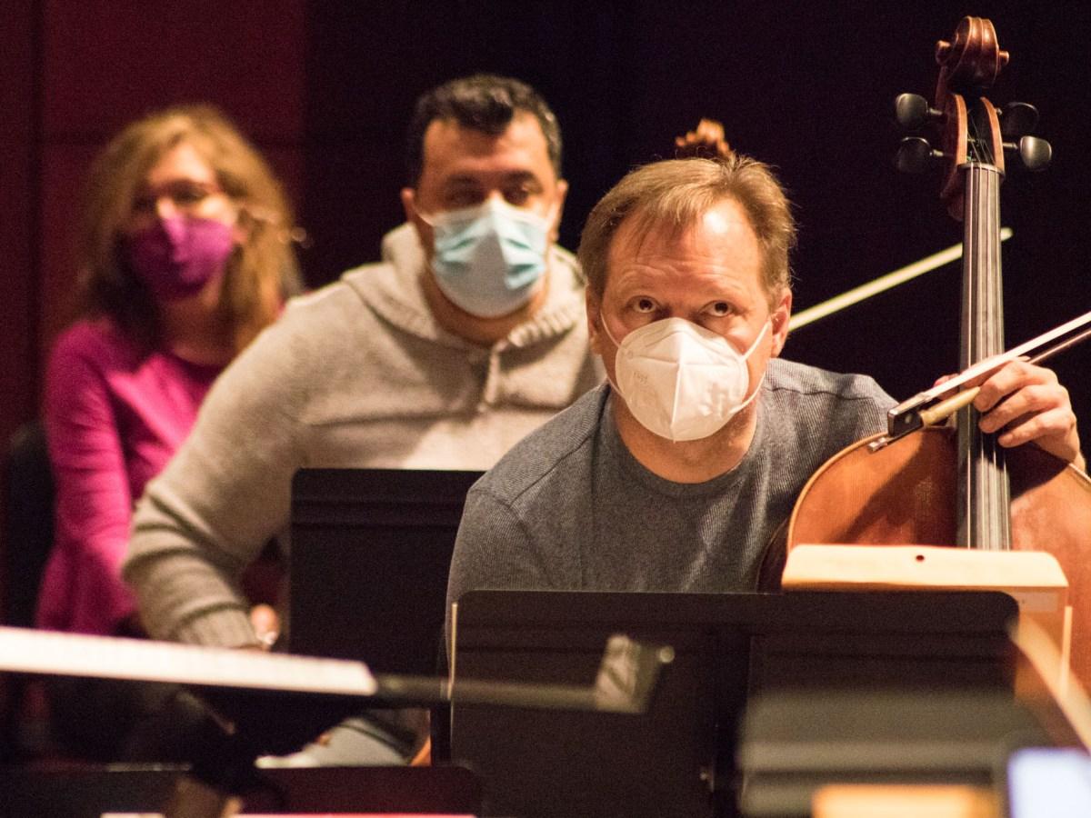 San Antonio Symphony rehearses on for its season-opening concert on February 3, 2021.
