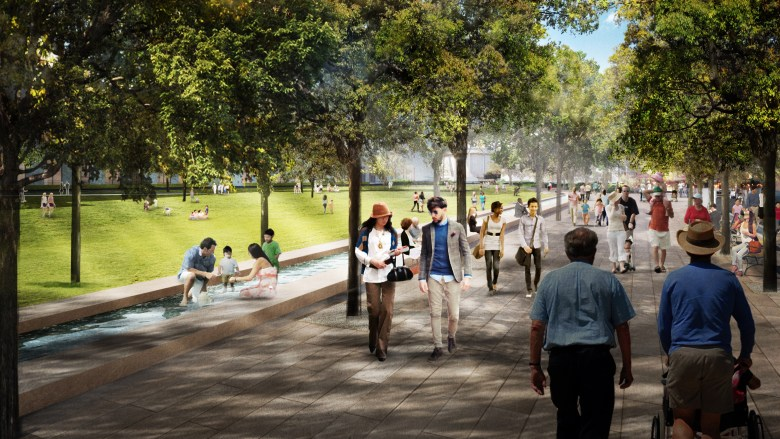 A rendering of The Shallows and Promenade at the future Civic Park.