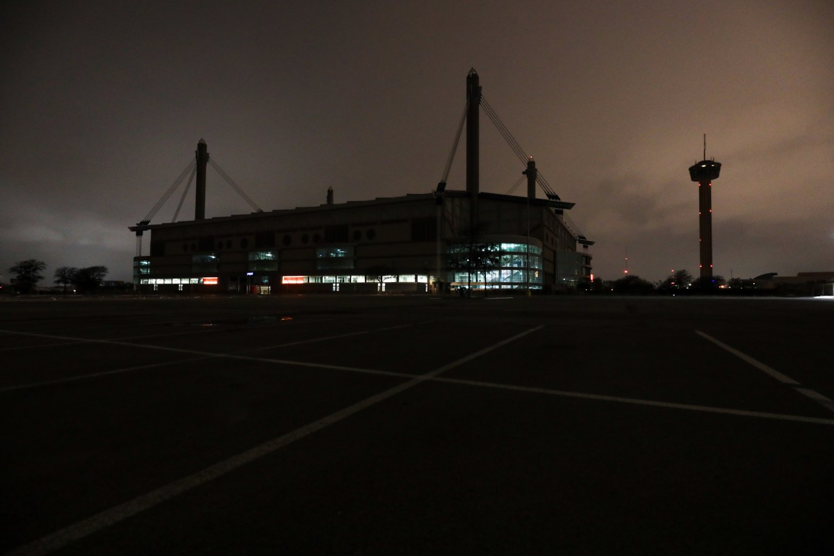 The lights of the Alamodome and the Tower of the Americas were turned off in an effort to conserve energy as hundreds of thousands of people in San Antonio were without power earlier in the week.