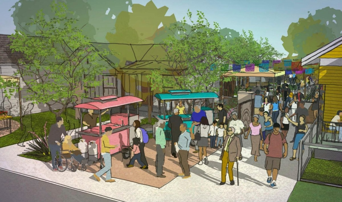 A rendering of the multipurpose outdoor space for outdoor performances and events at Rinconcito de Esperanza, a hub for the Esperanza Peace and Justice Center's historical and cultural programming,