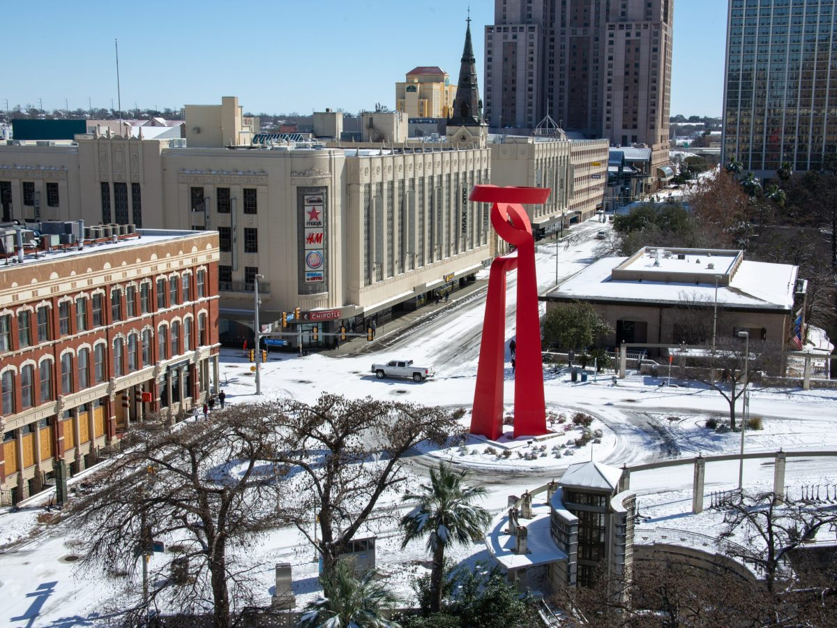 The Torch of Friendship and the Shops at Rivercenter in downtown San Antonio are seen after Winter Storm Uri in February.