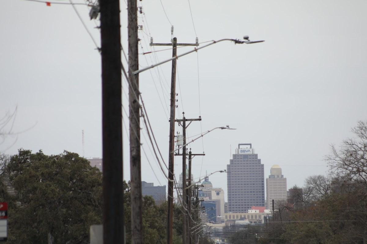 Power lines follow McCullough Avenue looking towards downtown San Antonio.