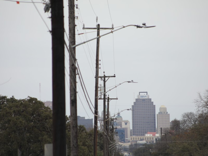 Power lines follow McCullough Avenue looking towards downtown San Antonio.