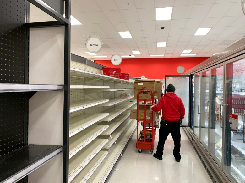Food shelves are emptied as the rolling blackouts and cold weather causes panic. Photos taken at Target on Austin Highway on February 17, 2021.