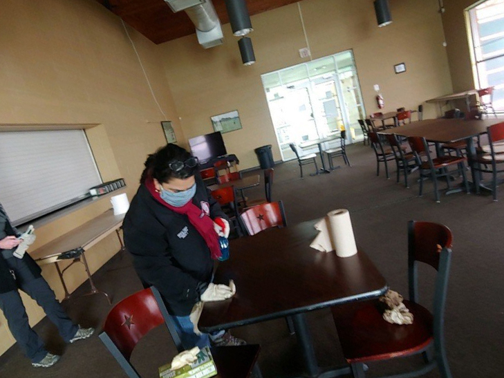 Councilwoman Rebecca Viagran (D3) cleans the Mission Del Lago Golf Course clubhouse so it can be used as a warming shelter for Mission Del Lago neighborhood residents.