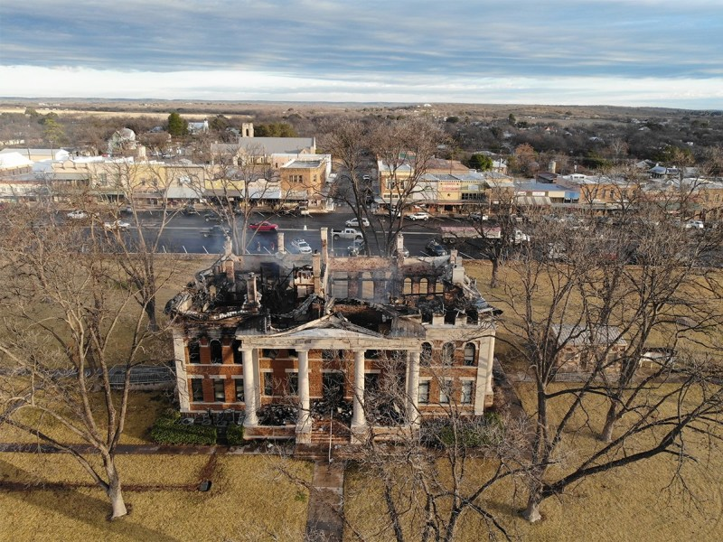 The Mason County Courthouse was destroyed by a fire on Thursday night.