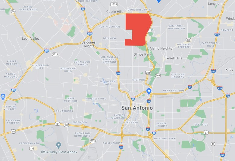 The Shearer Hills/Ridgeview neighborhood is shaded in red on the map.