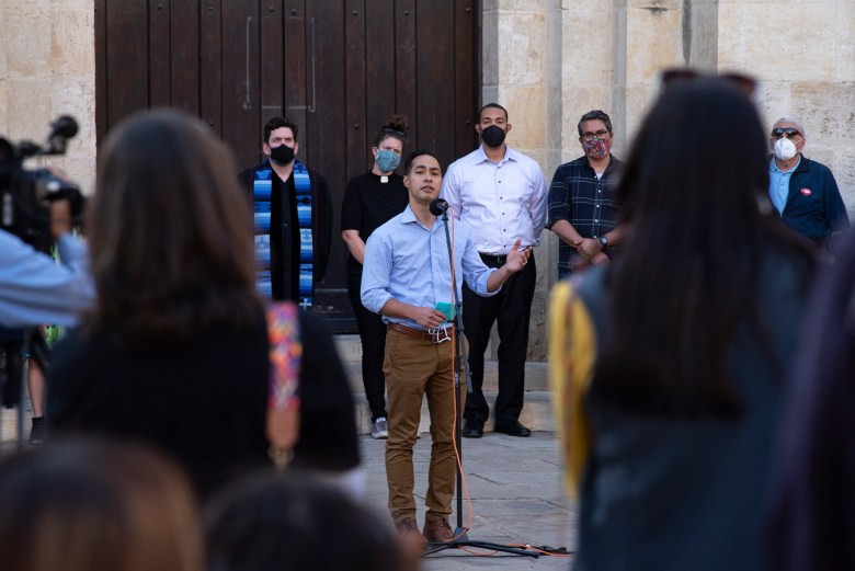 Former mayor of San Antonio Julian Castro speaks at the Stop Asian Hate vigil on Saturday.