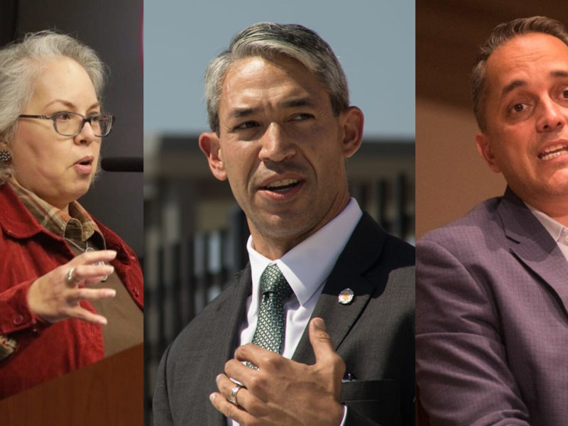 From left, mayoral candidates Denise Gutierrez-Homer, Mayor Ron Nirenberg, and Greg Brockhouse will participate in a mayoral forum in partnership with Bexar Facts, KSAT, and the San Antonio Report.