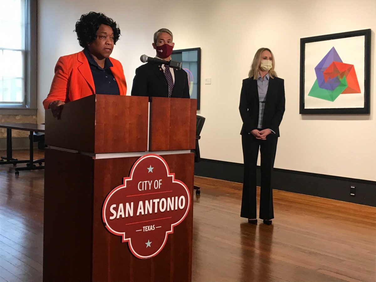 (from left) CPS Energy President and CEO Paula Gold-Williams addresses the media following the public utility filing a lawsuit against the Electric Reliability Council of Texas (ERCOT) as Mayor Ron Nirenberg and Lauren Valkenaar, outside counsel for CPS Energy also attend.