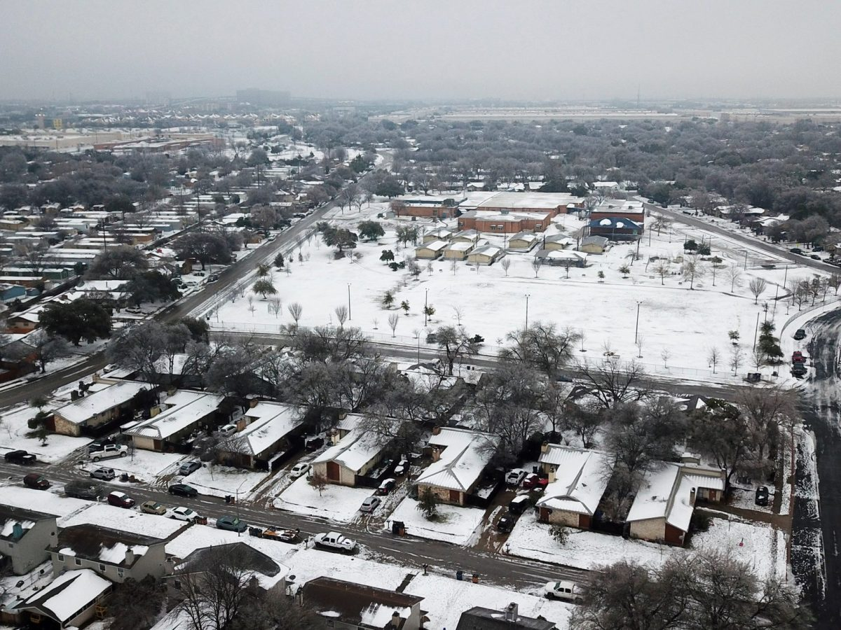 An aerial view of the Dove Springs neighborhood in South Austin after a severe snowstorm dumped heavy snow and plummeted temperatures.
