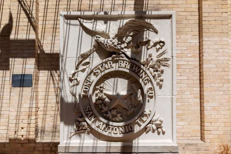 The San Antonio Museum of Art opened in the Lone Star Brewery in 1981, almost one hundred years after the brewery's founding in 1884. In 1896 a new facade was constructed. This emblem was preserved and restored.