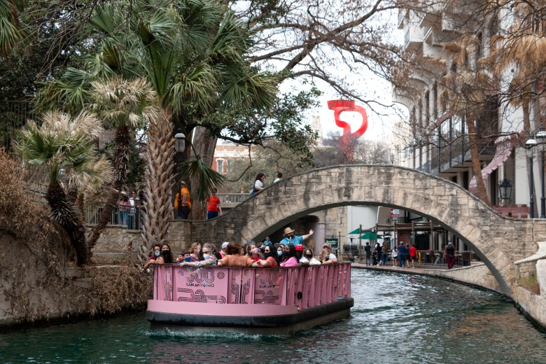 A GoRio Riverboat tour floats down the San Antonio River. Masks are required on the boats during the entirety of the boat tour. Tuesday, March 16, 2021.