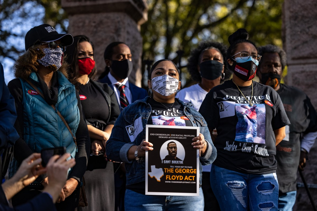 Families of the victims of police brutality gathered at a rally in support of the George Floyd Act at the Texas State Capitol Building on Thursday, March 25, 2021.