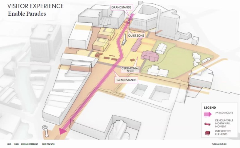 A rendering shows Fiesta parade routes through Alamo Plaza under a new set of proposals.