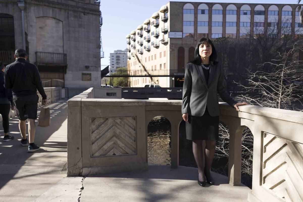 Deputy City Manager María Villagómez outside of the International Center before a collective bargaining meeting with the San Antonio Police Officer's Association in which she is lead negotiator on Friday, March 19, 2021.
