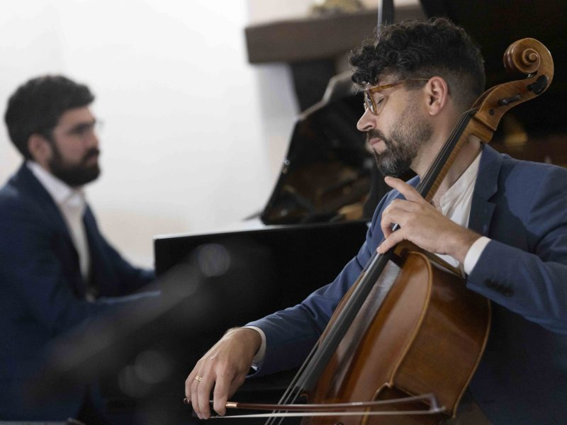 Agarita cellist Ignacio Gallego performs with Daniel Anastasio in the Spanish Governor's Palace.