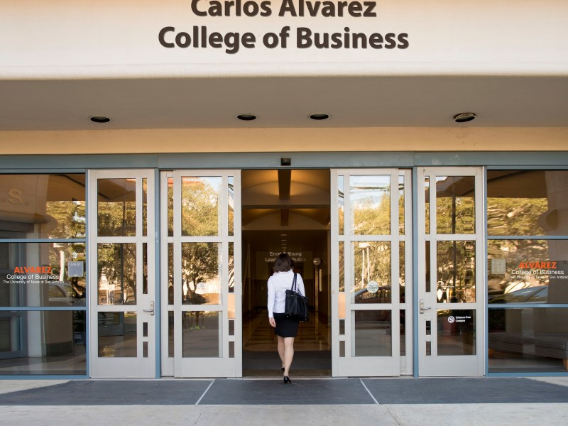A photo illustration of the renamed Carlos Alvarez College of Business at UTSA.