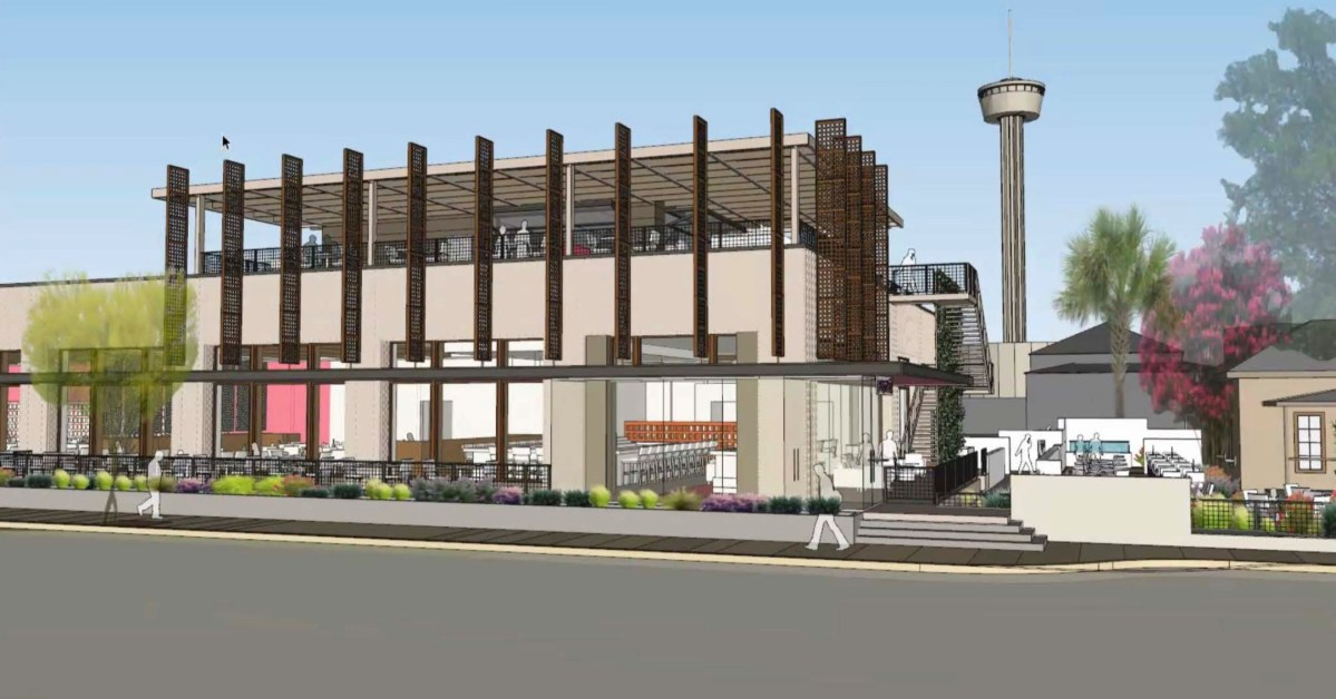 Renderings for the new Rosario's show a modern, two-story structure with a rooftop terrace, patio seating, and a surface parking lot on South Presa Street.