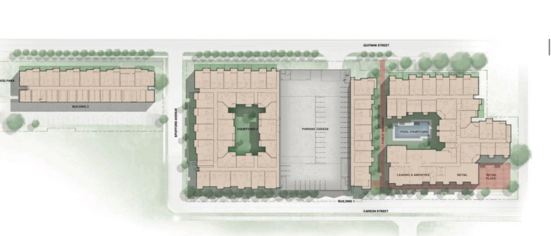 A site for plan at Grayson Heights shows how the residential buildings will be constructed on the Government Hill property.