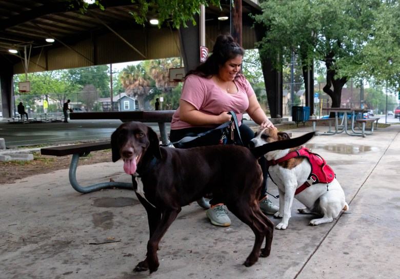 Alyssa enjoys taking her dogs Hazel and Kawhi for walks at Palm Heights Park where kids play and teens are playing a pick-up game of basketball.