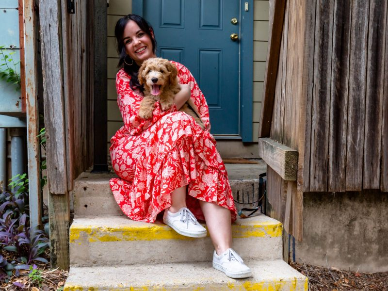 Allysse Shank-Rivas has lived in Olmos Park for five months with her husband and their 12 week-old Golden Doodle puppy, Potato.