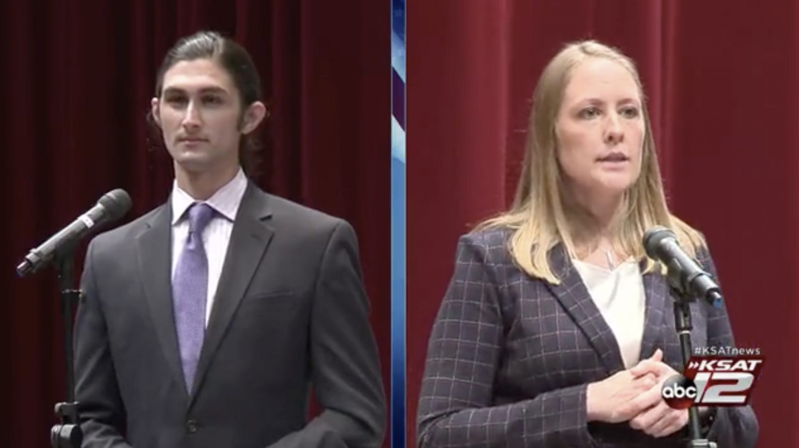From left, James Dykman, a data and policy analyst for Fix SAPD debates Sgt. Rachel Barnes, a negotiator with the San Antonio Police Officers Association, during an event cohosted by KSAT and the San Antonio Report on Proposition B.