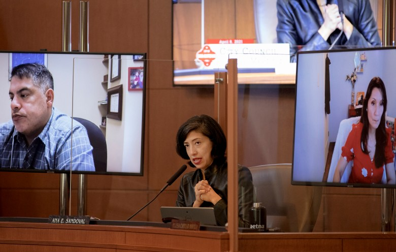 City Council member Ana Sandoval asks a question to Chief Sustainability Officer Doug Melnick during a City Council special meeting on Thursday. The council convened in person for the first time since November when they suspended in-person meetings as Covid-19 cases spiked.