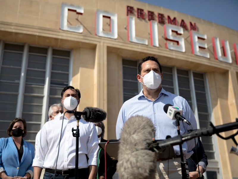 State Rep. Trey Martinez Fischer speaks during a press conference outside the Freeman Coliseum in April. Martinez Fischer said Sunday that he had tested positive for the virus that causes COVID-19.