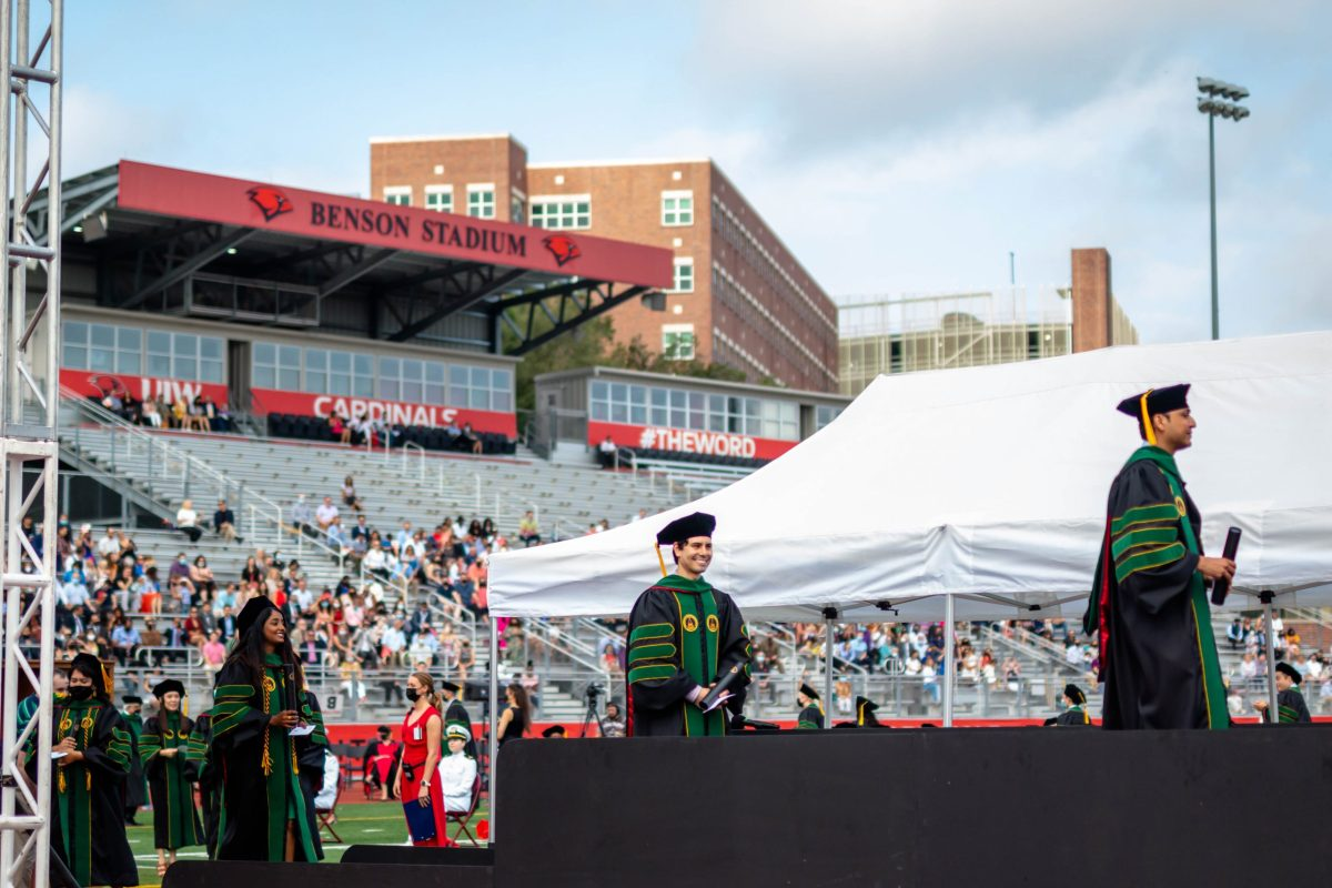 Graduates of the inaugural class of the School of Osteopathic Medicine at the University of the Incarnate Word receive their diplomas at Benson Stadium in May.