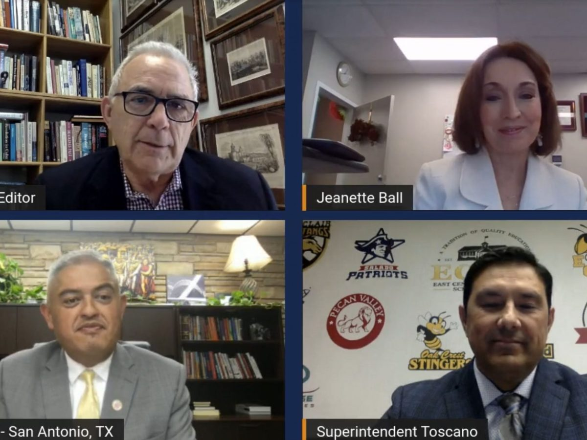 Robert Rivard, moderator and San Antonio Report editor, hosts a conversation with local superintendents Jeanette Ball of Judson ISD, Roland Toscano of East Central ISD, and Eduardo Hernandez of Edgewood ISD.