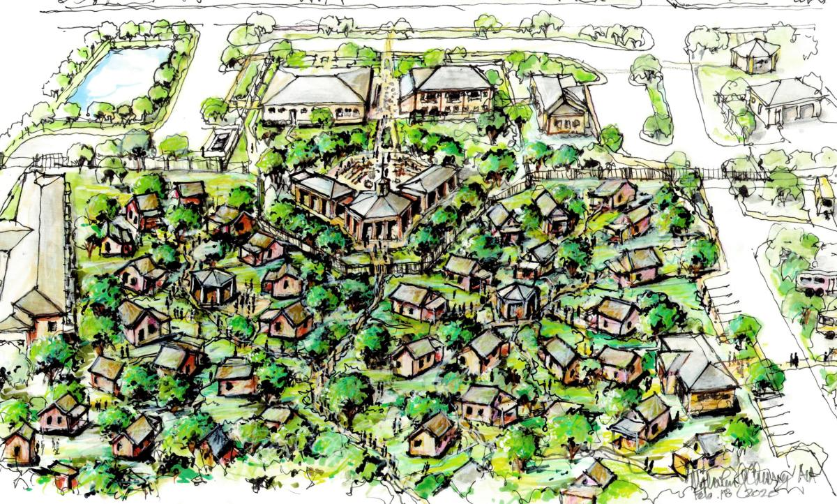 The Towne Twin Village plans to break ground this month and plans include classrooms, community kitchens, case management, and health clinics for seniors experiencing homelessness.