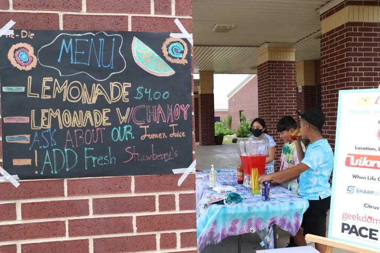 South San ISD students operate a lemonade stand outside of Roy Benavidez Elementary School Thursday.