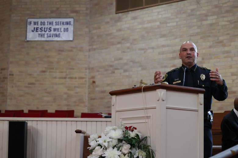 Bexar County Sheriff Salazar speaks at the Voting Rights Vigil at Friendship Baptist Church on the east side Saturday.