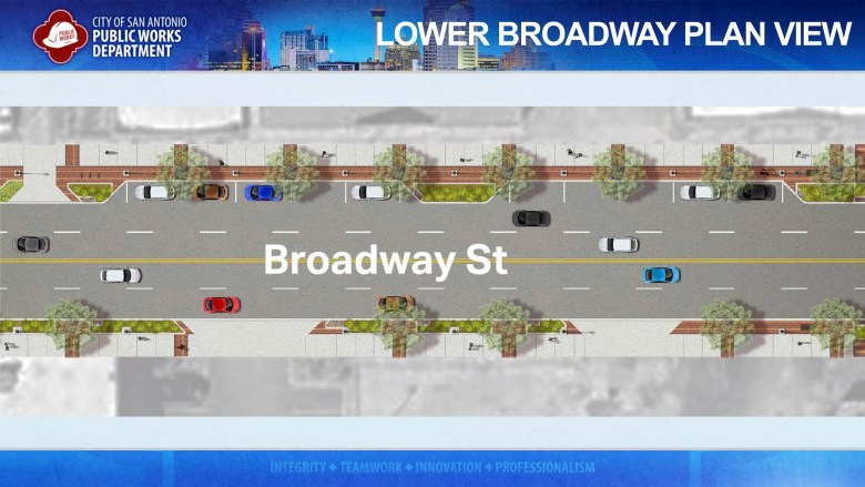 A rendering shows what lower Broadway may look like after the three-year renovation plan is complete.