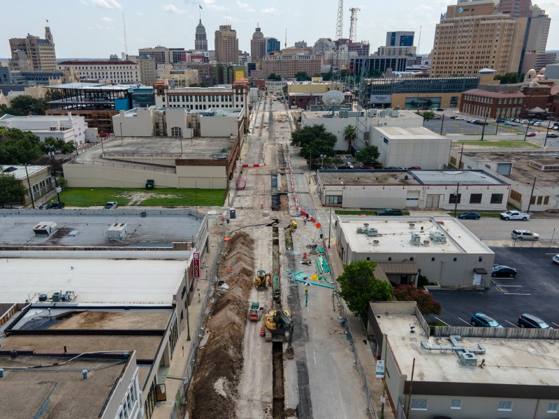Road construction continues on Broadway Street in downtown on Tuesday.