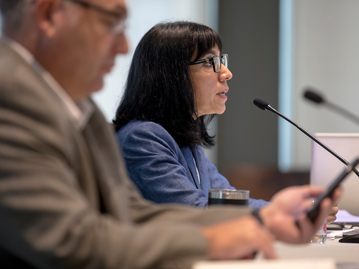 Maria Villagómez, deputy city manager, speaks during collective bargaining negotiations between the City and police union on Thursday.