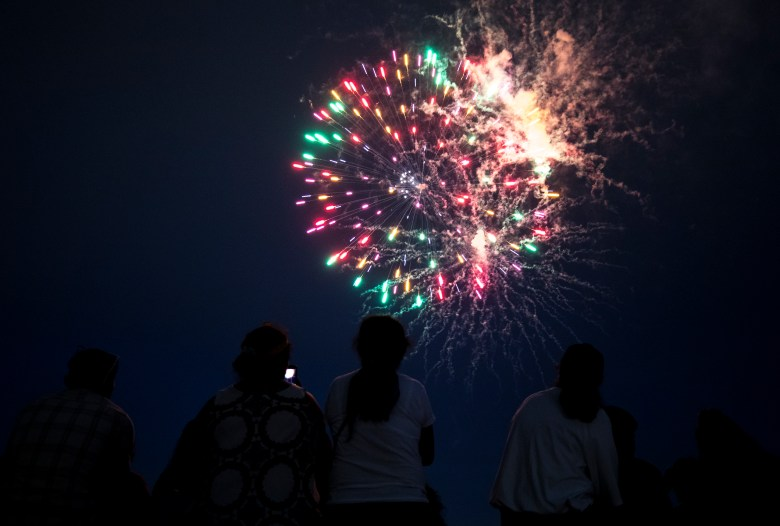 People watch the fireworks show during the Fourth of July Celebration at Woodlawn Lake Park on Sunday.