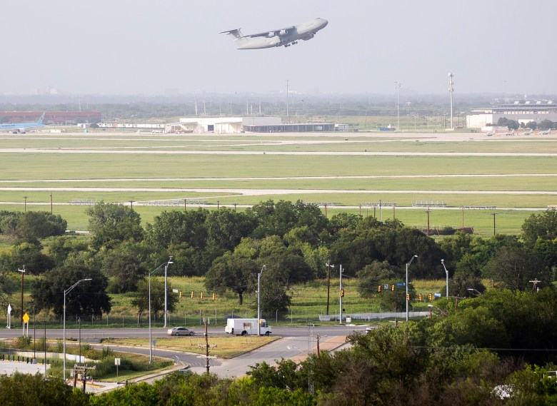 A U.S. Air Force C-5M Super Galaxy takes off from Kelly Air Field near Port SA on Monday.