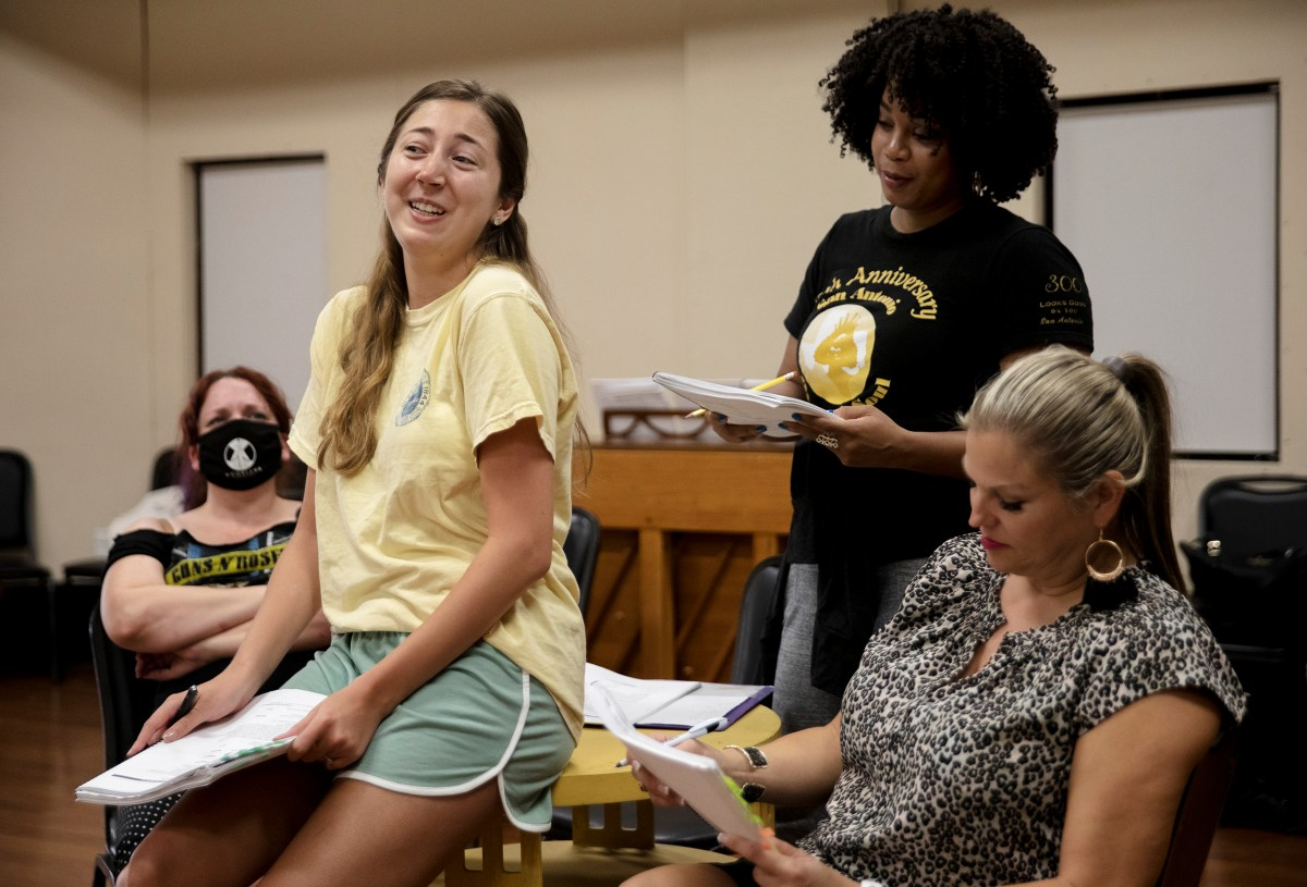 Jimmi Nelson-Reid performs the role of Ella during a rehearsal for Cinderella at the Woodlawn Theatre on Monday.